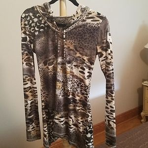 Long sleeve hooded shirt worn once with beading